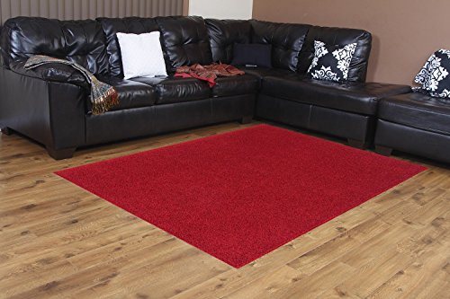 Bright House Solid Color Area Rug, 4' W X 6' L, Red (Kitchen Solid Red Rugs)