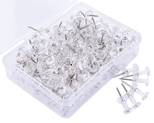 Push Pins, JoyFamily Thumb Tacks Used on Cork Boards or Maps, Pack of 150PCS(Clear Color)