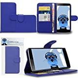 iTALKonline OnePlus 2 OnePlus Two OP2 Blue PU Leather Executive Multi-Function Wallet Case Cover Organiser Flip with Credit / Business Card Money Holder Integrated Horizontal Viewing Stand