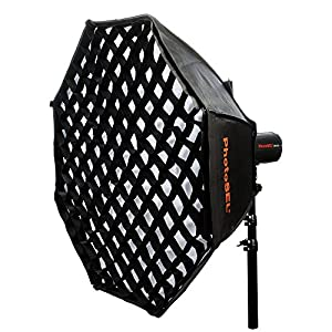 PhotoSEL SBSC150BE Softbox Softbox Ottagonale Con Griglia a Nido d'Ape 150 cm - Supporto Tipo S, Per Flash da Studio… 11 spesavip