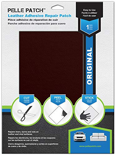 Pelle Patch - Leather & Vinyl Adhesive Repair Patch - 25 Colors Available - Original 8x11 - Burgundy ()