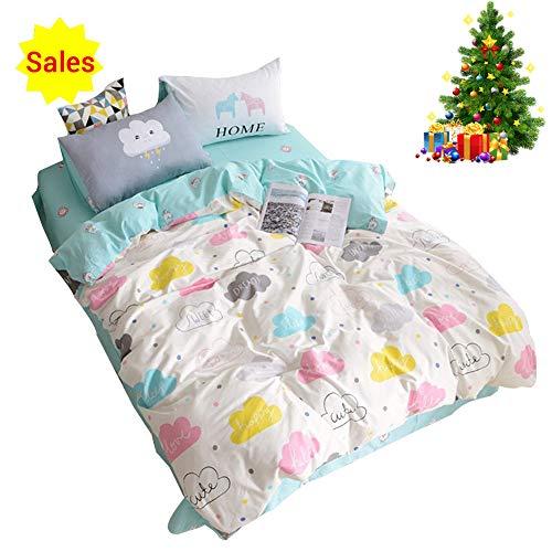 OROA Children Cartoon Cloud Duvet Cover Set Cotton 100 3 Piece Queen Full Cloud Bedding Set for Kids Baby Toddler Crib (Full/Queen, Style 3)