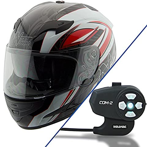 Nikko N916 White/Red Full Face Helmet with Hawk COM-2 Bluetooth Motorcycle Head - 2X-Large w/ COM-2 - White Full Face Helmet