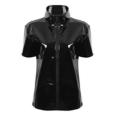 Alvivi Herren Lack Optik Jacke Kurze Mantel Wetlook Coat Oberteile Männer Kurzarmshirts Kunstleder Hemd T Shirt Slim Fit Latex Glänzend Tops Party
