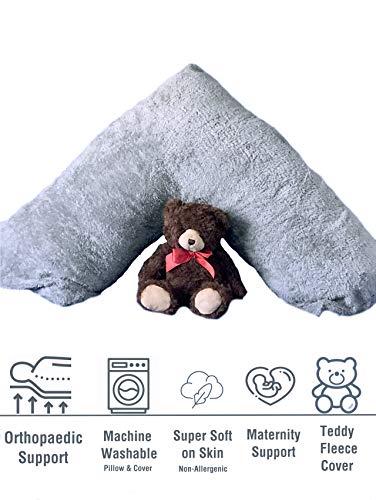 KLAZE V Pillow & Case Grey/Silver Colour Complete Set Teddy Fleece Super Soft Non-Allergenic Orthopaedic V Pillow Cover Case Back & Neck Support Nursing Pregnancy (Size:30cm x 78cm /12' x 30' approx)
