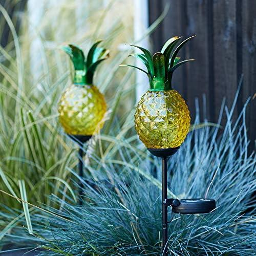 Lights4fun, Inc. Set of 2 Glass Pineapple Solar Powered LED Outdoor Waterproof Garden Pathway Landscape Lights