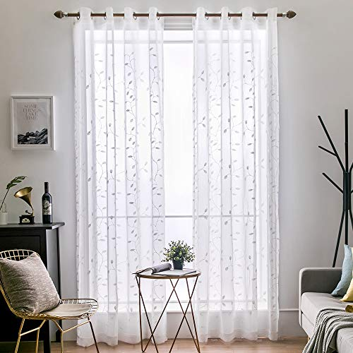 MIULEE 2 Panels Leaves Embroidered Sheer Window Curtains Beautiful Elegance Grommet Window Voile Panels/Drape/Treatment for Bedroom Living Room (54X96 Inch White)