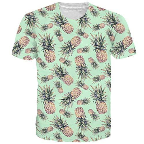 Alistyle Unisex Funky Digital Pineapple Print T-Shirt 3D Graphic Short Sleeve Tees