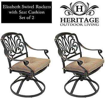 Heritage Outdoor Living Elisabeth Cast Aluminum Swivel Rocker – Set of 2 – Antique Bronze
