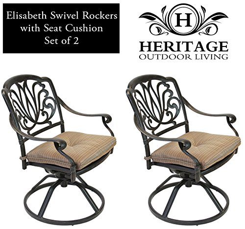 Heritage Outdoor Living Elisabeth Cast Aluminum Swivel Rocker - Set of 2 - Antique - Frontgate Swivel Rocker