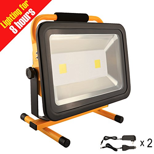 8 Hr Super Bright 100W Spotlights LED Outdoor Work Lights Camping Lights,Built-in Rechargeable Lithium Batteries IP65 Waterproof Portable Emergency Floodlight by Eurus Home (Image #7)