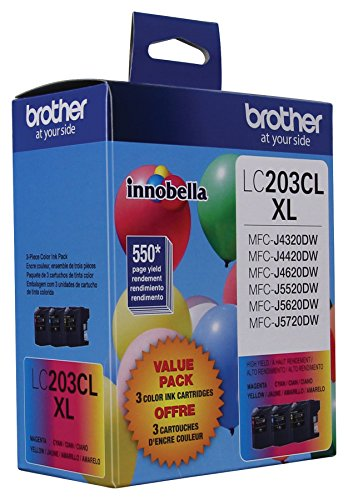 Brother Genuine High Yield Color Ink Cartridge, LC2033PKS, Replacement Color Ink Three Pack, Includes 1 Cartridge Each of Cyan, Magenta & Yellow, Page Yield Up To 550 Pages, Amazon Dash Replenishment Cartridge, LC203 by Brother (Image #1)