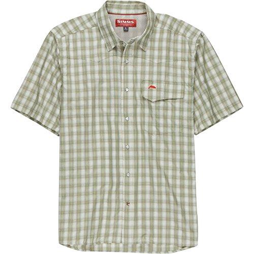Simms Big Sky Short Sleeve Shirt, Dark Khaki Plaid, - Big Sky Sunglasses