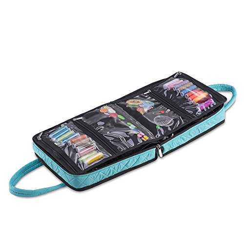 DeNOA Knitting and Sewing Compact Accessory Folder, Removable Velcro Inserts, Storage Carrying Case, Aqua by DeNOA