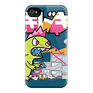 Iphone 4/4s Hard Back With Bumper Silicone Gel Tpu Cases Covers Monster Attack