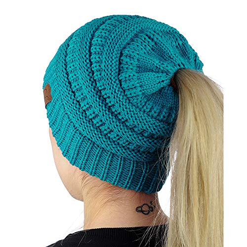 9PROUD Teal Beanie Winter Hats for Women Warm Stretch Cable Knit Beanie Messy Bun B9934 -