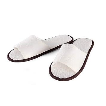 YNN 10 Par/Lote Zapatillas Desechables Toalla Blanca Toe Abierto Toalla de Zapatillas de Viaje Talla única Mayoría de Hombres y Mujeres para huéspedes, SPA, ...