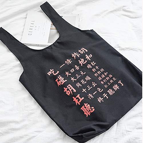 Simple Sacs Sac Shanzwh Fourre Main tout Terme Mahjong À Bandoulière Toile noir Shopping Fichier Voyage zIwdqSxwr