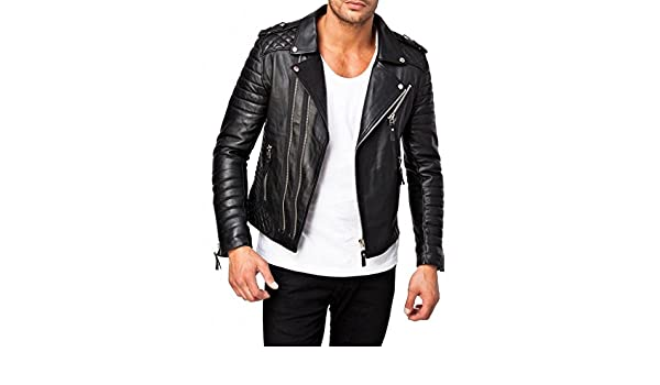 ABDys Mens Lambskin Leather jacket DKL369 Black at Amazon Mens Clothing store: