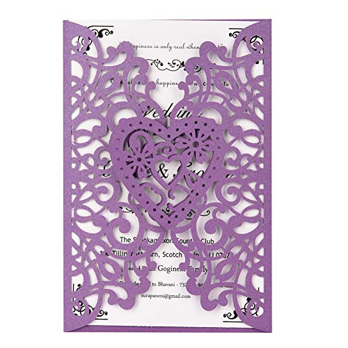 Laser Cut Wedding Invitations Kits 50 Packs FOMTOR Laser Cut Wedding Invitations with Blank Printable Cards and Envelopes for Wedding,Birthday Parties,Baby Shower Purple