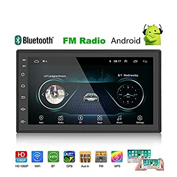 Image of Camecho Android Double Din Car Stereo Audio GPS WiFi Bluetooth FM/AM MP5 Player with 7' HD Full Touch Screen Support iOS/Android Phone Mirror Link and DVR & Backup Camera Input Car Video