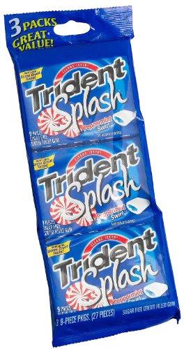 Trident: 9 Pieces Peppermint Swirl Splash Sugarfree Center Filled Gum, 3 Pk