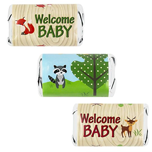 Woodland Animals Baby Shower Miniatures Candy Bar Wrapper Stickers (Set Of  54)