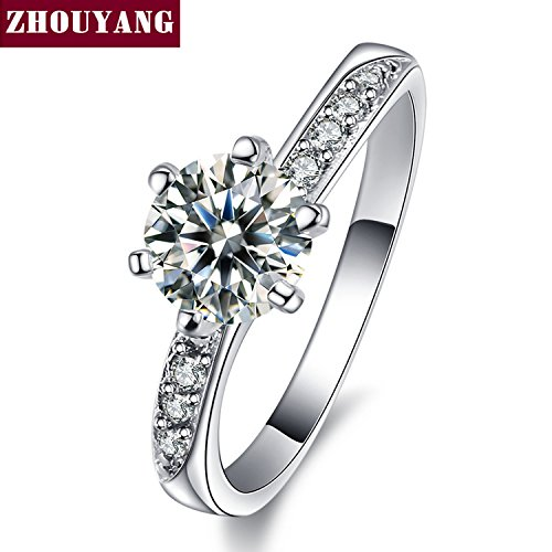 BCZ-Ring Silver Color Cubic Zirconia 6 Prong Fashion Wedding & Engagement Ring Jewelry As Aniversay ZYR552