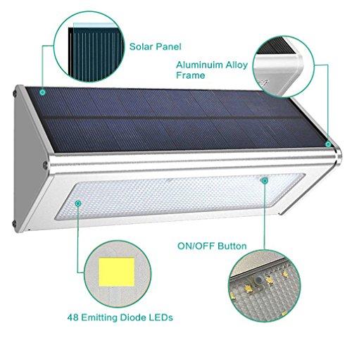 Giaride 48 LED 1000 Lumen Solaire Exterieur Luminaire Mural Jardin