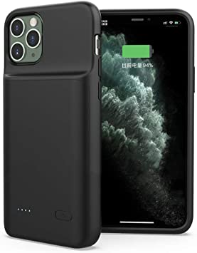 Anyos iPhone 11 Pro Battery Case 6000mAh Portable Charger Extended Rechargeable Battery Pack Charging Protective Cover 5.8 inch Black Battery Case for iPhone 11 Pro