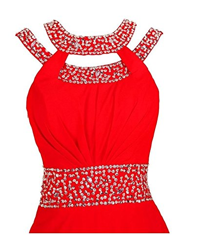 Beauty Beaded Evening Chiffon Gown Bridesmaid Red Prom Party AK OvdxnqZwO