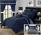 Perfect Home 20 Piece Nashville Complete Bed room in a bag Comforter Set,Sheets Set,window treatments included Queen Navy