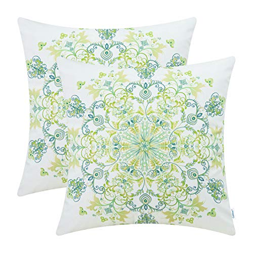 CaliTime Pack of 2 Cozy Fleece Throw Pillow Cases Covers Couch Bed Sofa Vintage Mandala Snowflake Floral 18 X 18 Inches Yellow - Floral Cushion Green