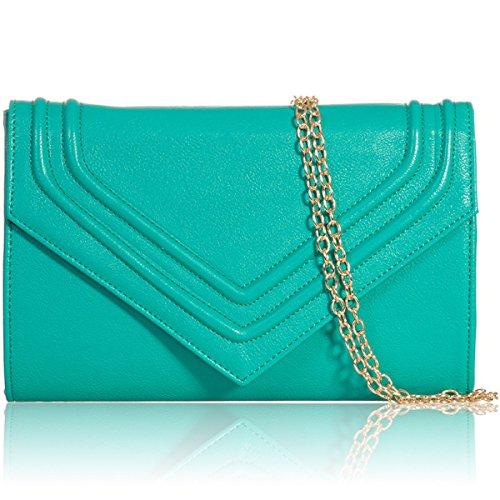 London Ladies Bag Leather Women Teal Clutch Designer Handbags Party Evening Flap Xardi Bridal Faux dYwUtz