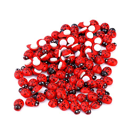 Dazonge Mini Self-Adhesive Ladybugs,100pcs 3D Lady Beetle Garden Decor for Children Kids DIY Sticker Decoration ()