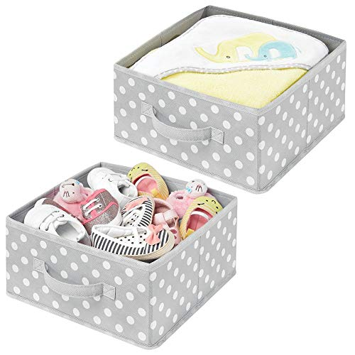 Polka Dot Storage - mDesign Soft Fabric Modular Closet Organizer Box, Handle for Cube Storage Units in Closet, Bedroom, Bathroom - Holds Clothing, T Shirts, Leggings, Accessories - Polka Dot Print, 2 Pack - Gray/White