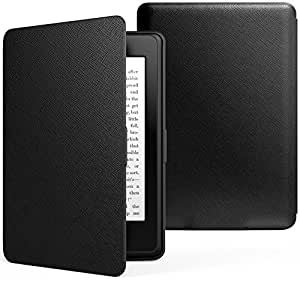 MoKo Case for Kindle Paperwhite, Premium Thinnest and Lightest PU Leather Cover with Auto Wake / Sleep for Amazon All-New Kindle Paperwhite (Fits 2012, 2013, 2015 and 2016 Versions), BLACK