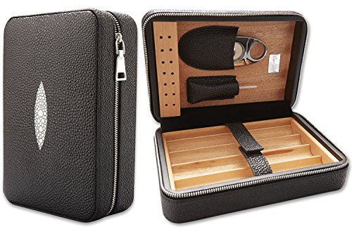 Capo Lily Cigar Humidor, Travel Portable Case with Cutter, PU Leather Wooden Box for 4 Cigars