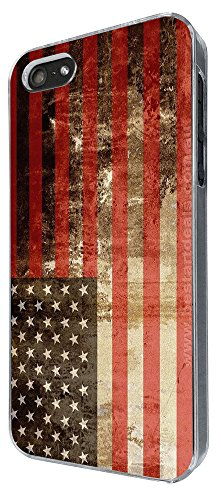 002986 - Vintage Style American Flag Old Glory Star Spangled Banner Design iphone 5 5S / iphone SE 2016 Hülle Fashion Trend Case Back Cover Metall und Kunststoff -Clear