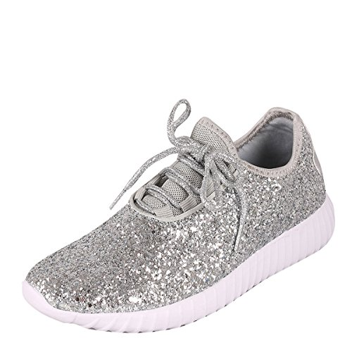Forever Link Womens Closed Round Toe Sparkling Glitter Lace Up Fitness Trainer Gym Fashion Sneakers 8 Silver]()