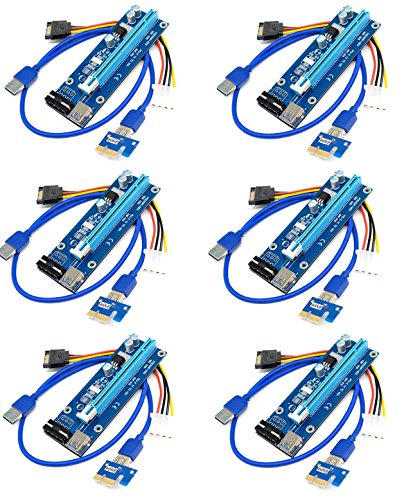6-Pack PCI-E Express 1x to 16x Powered Riser Cables 0.6m USB 3.0 SATA to Molex 4 Pin Kit Pack of 6, GPU Adapter Card Extender Cable Building Ethereum Mining Rig ETH Miner USB Extension Cable (De Pc Fuente Poder)