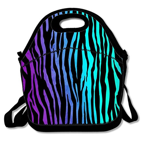Insulated Neoprene Lunch Bag Thermal Carrying Gourmet Lunch Box Containers for Women Men Teen Girls Boys Kids - Gradient Zebra print