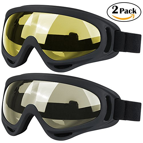 Ski Goggles, 2 Pack Snowboard Goggles Skate Glasses, Motorcycle Cycling Goggles for Kids, Boys & Girls, Youth, Men & Women, with UV 400 Protection, Wind Resistance, Anti-Glare - Glasses Snow