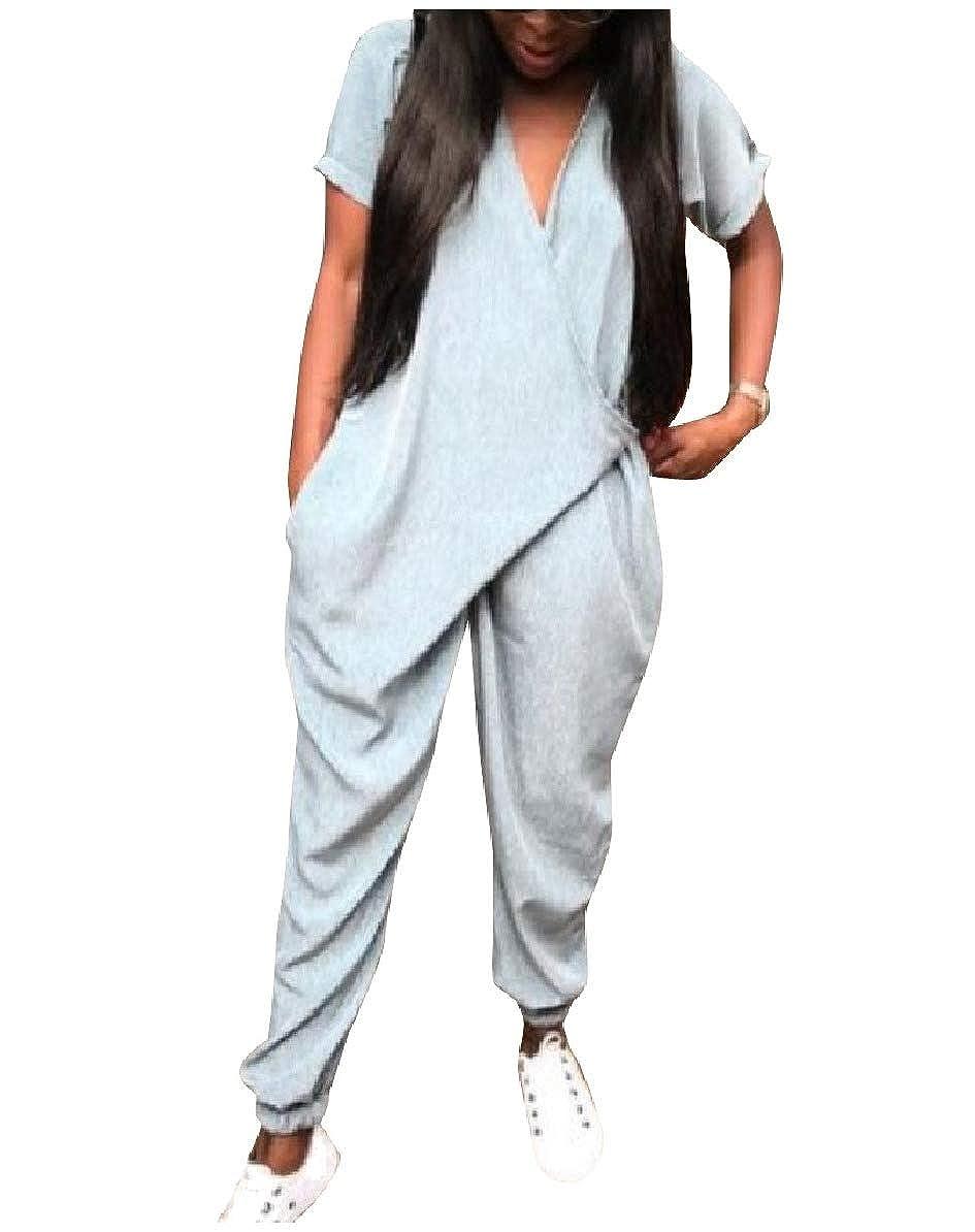 Comaba Women Fashionable Pure Colour Short-Sleeve Lounge Harem Jumpsuits