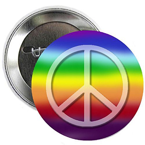(Rainbow Peace Love Sign Pinback Button Badge 2.25
