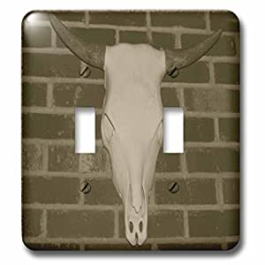 Rebecca Anne Grant Photography Designs Cows Bulls Cattle - Skull With Horns - Light Switch Covers - double toggle switch (lsp_50767_2)