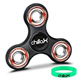 Chillax Fidget Spinner - Tri-Spinner Fidget Toy for Anxiety and ADHD - Premium Quality EDC Focus Toy for Kids & Adults - Best Stress Reducer, Giving Up Smoking, Boredom and Relaxation Toy (Black)