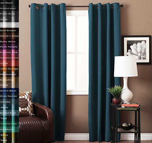 ing Thermal Insulated Grommet Window Curtains for Living Room / Bedroom,Grommet Top, Dark Denim, 52x96-inch, Sold by 2 Panels (Solid Black Denim Drapes)