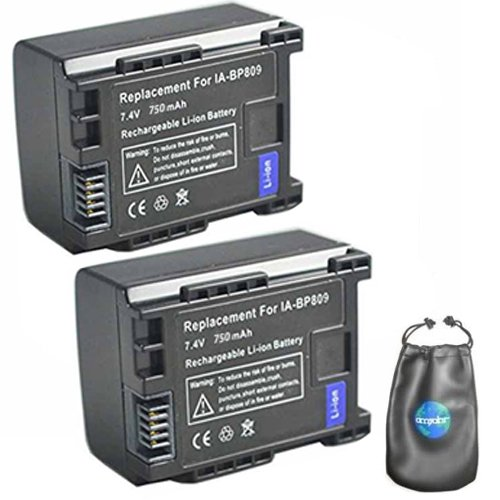 ValuePack (2 Count): Digital Replacement Camera and Camcorder Battery for Canon BP-809, BP-807, BP-808 - Includes Lens Pouch by Amsahr