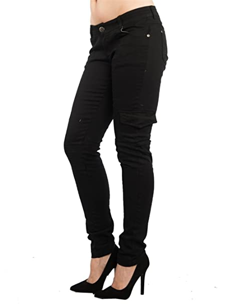 3e1e28e070e Jack David Wax Jeans Lucy B.B Jeans Women s Cargo Pants Sexy Stretch Solid  Casual Skinny